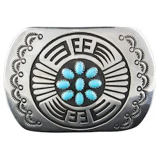 Navajo Sterling and Turquoise Belt Buckle