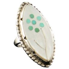 Native American Turquoise and Mother of Pearl Ring