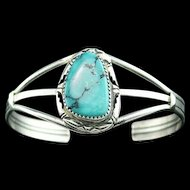 Navajo Sterling and Turquoise Bracelet by Ted Secatero