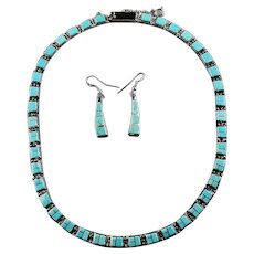 Elegant Sterling and Turquoise Touch of Santa Fe Necklace Set