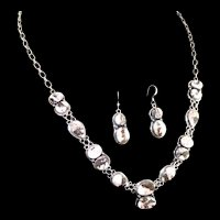 Navajo Sterling and White Buffalo Necklace and Earring Set