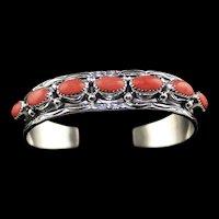 Navajo Spiny Oyster Cuff Bracelet by Navajo Artist Rex Abeita