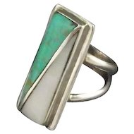 Cripple Creek Turquoise and Mother of Pearl Ring