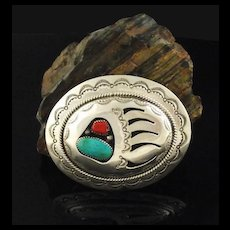 Navajo Turquoise and Coral Belt Buckle by Wilbur Musket