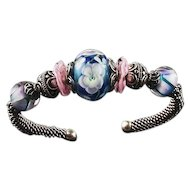Floral Jewels: Sterling and Lampwork Bead Bracelet