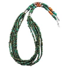 White Fox Creation: Turquoise and Spiny Oyster Necklace