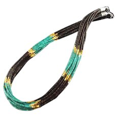 White Fox Creation: 10 Strand Turquoise and Pen Shell Heishi