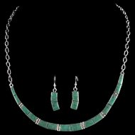 Sterling and Turquoise Inlay Necklace/Earring Set