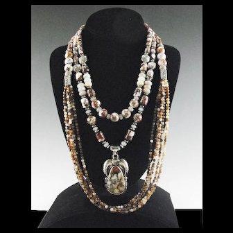 White Fox Creation: Spectacular Wild Horse Megnesite Necklace Set