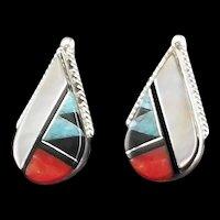 Zuni Inlay Earring by Cleo Kallestewa