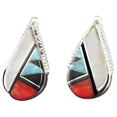 Zuni Inlay Earring by Cleo Kallestewa