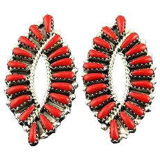 Graceful Coral Earrings By Navajo Artist Tom Billy