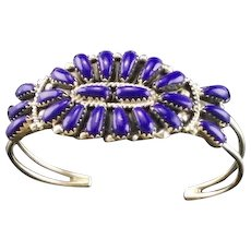 Native American Sterling and Lapis Petit Point Bracelet