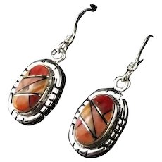 Tri Color Sterling and Spiny Oyster Earrings