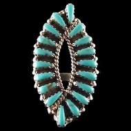 Graceful Turquoise Ring By Navajo Artist Tom Billy