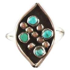 Zuni Turquoise Petit Point Ring ca 1970's