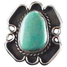 Old Navajo Sterling and Turquoise Ring