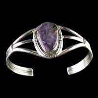 Navajo Sterling and Charoite Bracelet by Ted Secatero