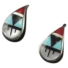 Zuni Multi Stone Inlay Earrings
