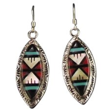 Zuni Inlay Earrings by Larry Leslie