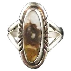 Slender Sterling and Wild Horse Magnesite Ring