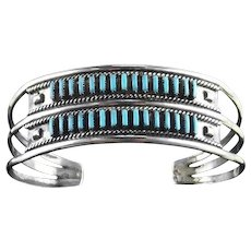 Double Row Needlepoint Bracelet by Zuni Artist Faron Hattie
