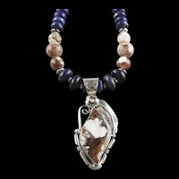 White Fox Creation: Lapis and Wild Horse Necklace