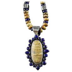 White Fox Creation: Picture Jasper and Lapis Lazuli Necklace
