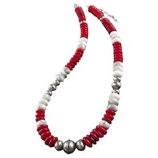 White Fox Creation: Coral and Howlite Necklace