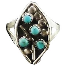 Turquoise and Sterling Zuni Petit Point Ring