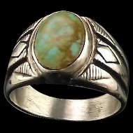Vintage Carol Felley Sterling and Turquoise Mens Ring