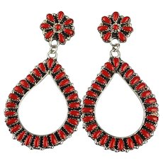 Extra Long Petit Point Coral Earrings