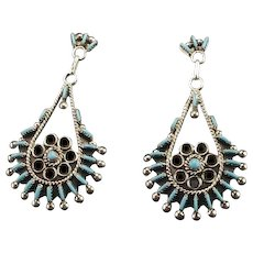 Zuni Turquoise and Sterling Needlepoint Earrings