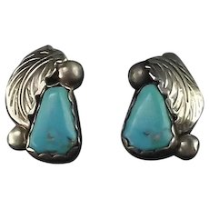 Navajo Turquoise with Sterling Leaf Earrings