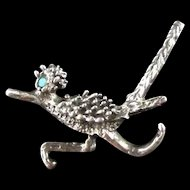 Sterling and Turquoise Roadrunner Pin