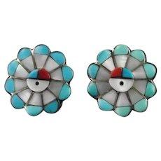 Zuni Inlay Sunface Earrings