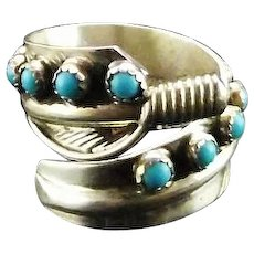 Wrap Feather Sterling and Turquoise Ring by Rita Dawes