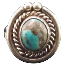 Navajo Sterling and Morenci Turquoise Ring