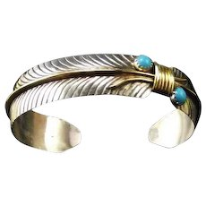 Native American Turquoise, Sterling and Gold Fill Bracelet