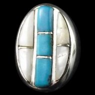 Vintage Turquoise and Mother of Pearl Mens Ring