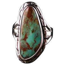 Traditional Navajo Sterling and Turquoise Mountain Ring