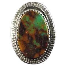 Green Boulder Turquoise Ring by Navajo Artist Richard T. Thomas