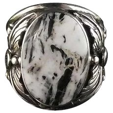 Navajo Sterling and White Buffalo Men's Ring by Arnold Maloney