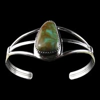 Sterling and Royston Turquoise Bracelet by Ted Secatero