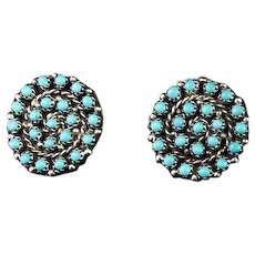 Zuni Turquoise and Sterling Petit Point Earrings