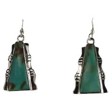 Native American Pyramid Pattern Turquoise Earrings
