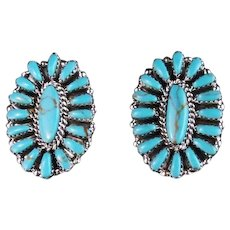 Native American Sterling and Turquoise Cluster Earrings