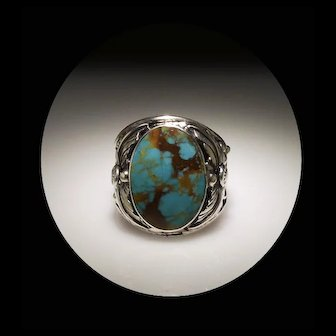 Mens Sterling and Pilot Mountain Turquoise Ring by Arnold Maloney