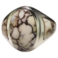 RESERVED For Gary: Native American Sterling and Wild Horse Magnesite Ring