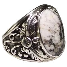 RESERVED For Gary: Navajo Sterling and White Buffalo Men's Ring by Arnold Maloney